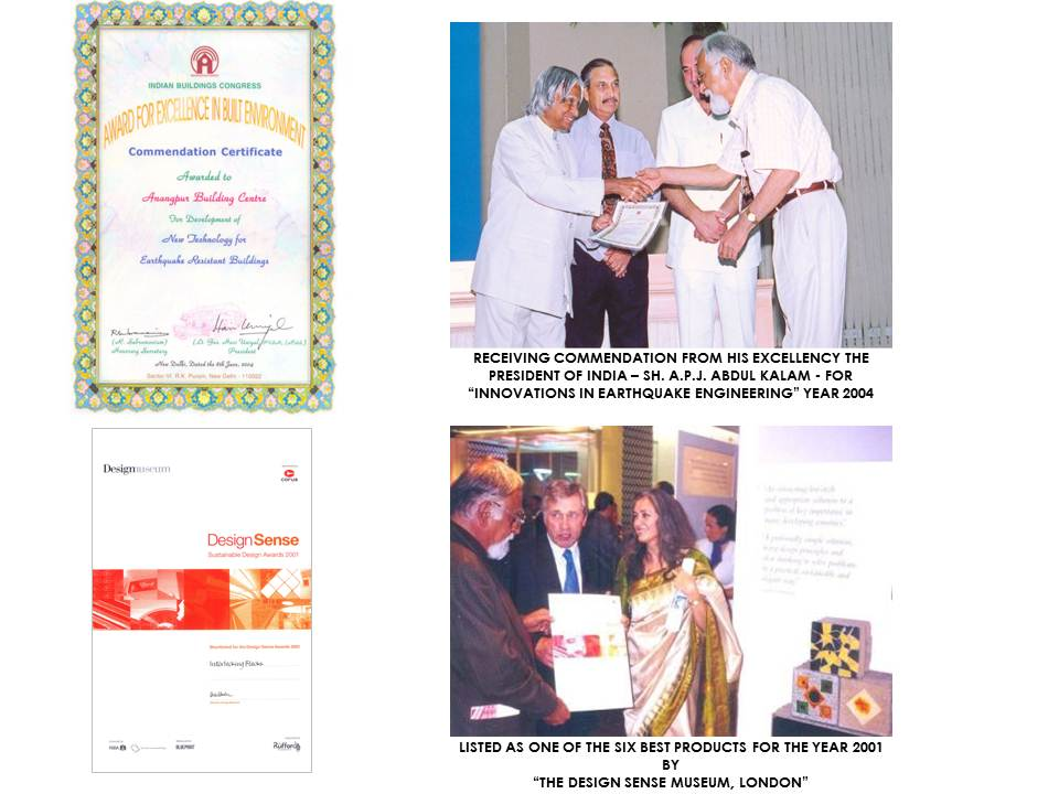 Award from the President of India for Earthquake Engineering